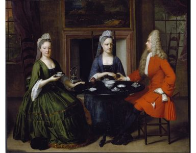 Two ladies and an officer seated at tea , unknown V&A